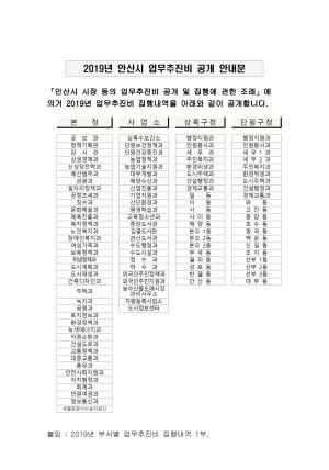 2019년 안산시 업무추진비 집행내역